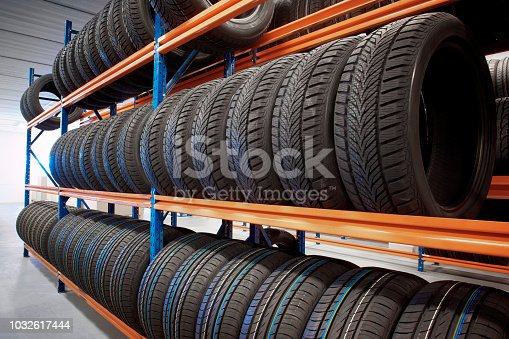 warehouse storing car tyres in rows for sale