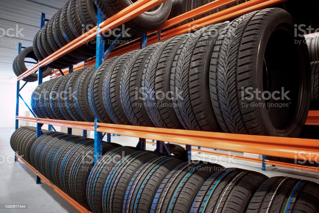 Warehouse with tyres on store stock photo