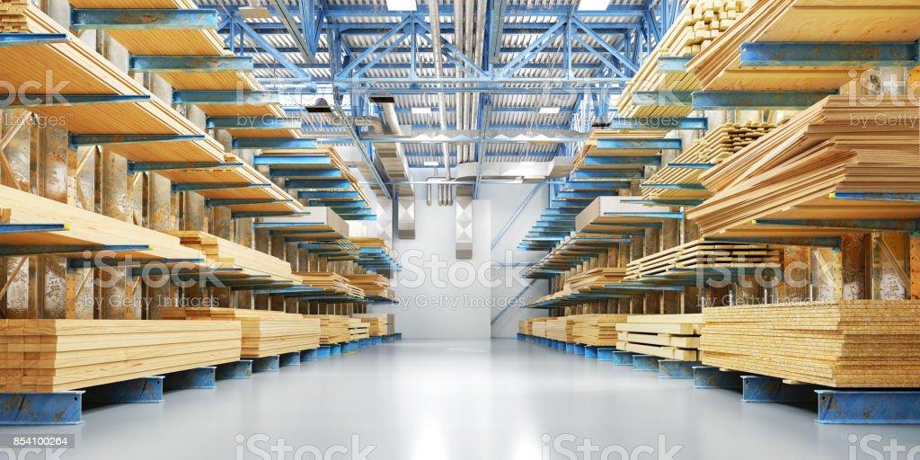 Lager mit Vielzahl von Bauholz und reparieren. Lieferung-Konzept – Foto