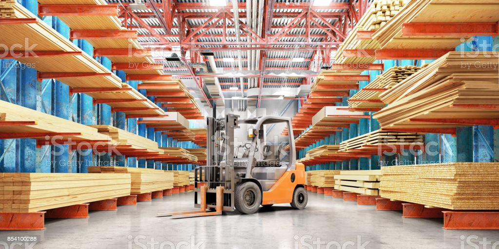 Warehouse with variety of timber for construction and repair. Delivery concept. stock photo