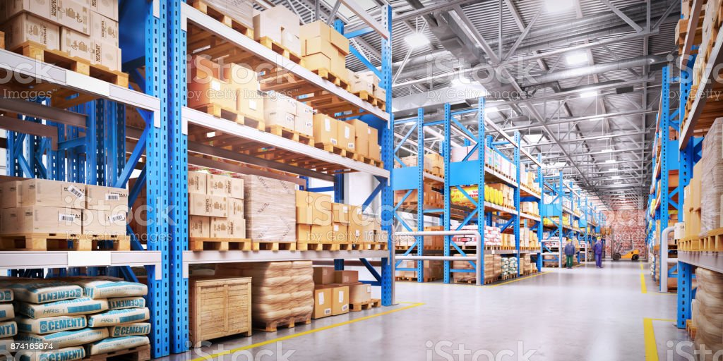 Warehouse with variety of timber for construction and repair. Delivery concept stock photo