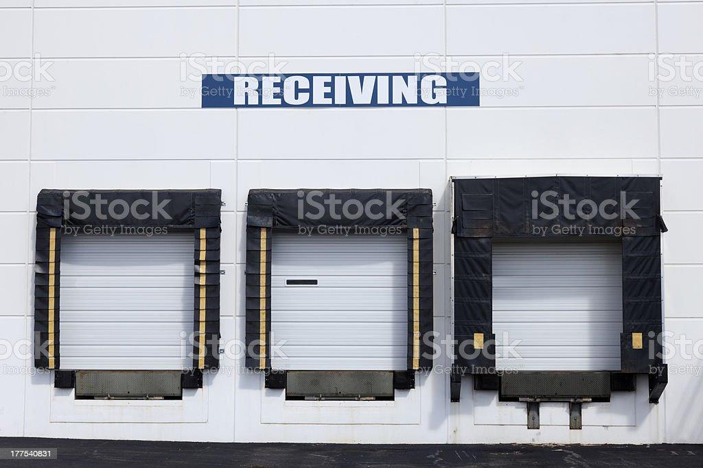 Warehouse with white gates. royalty-free stock photo