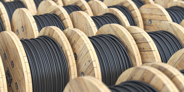 Warehouse with wooden coil  wire electric cable. 3d illustration