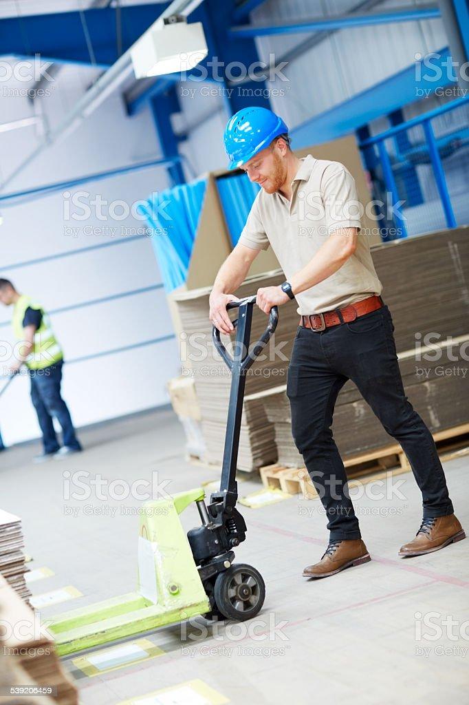 Warehouse worker organizing stock stock photo