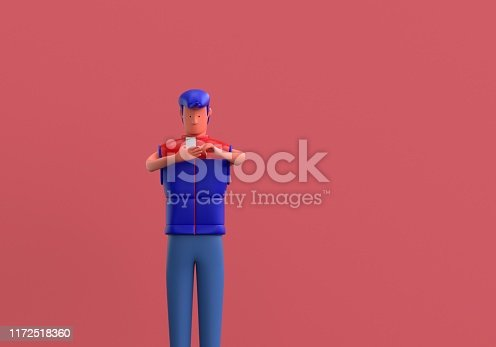 3d concept of warehouse worker who is looking at his mobile phone.