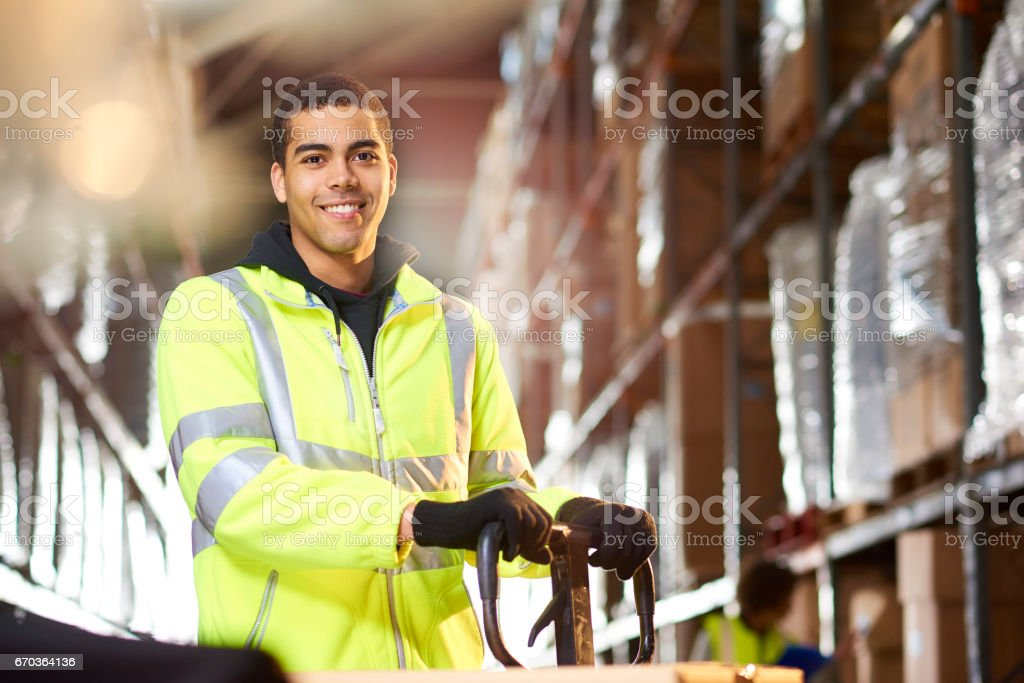 warehouse worker portrait stock photo