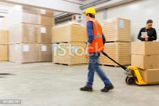 Warehouse worker pulling pallet truck with boxes,cute inspector watching