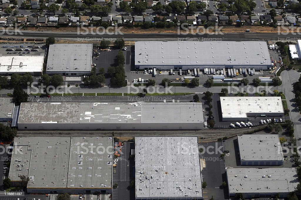 warehouses aerial view royalty-free stock photo