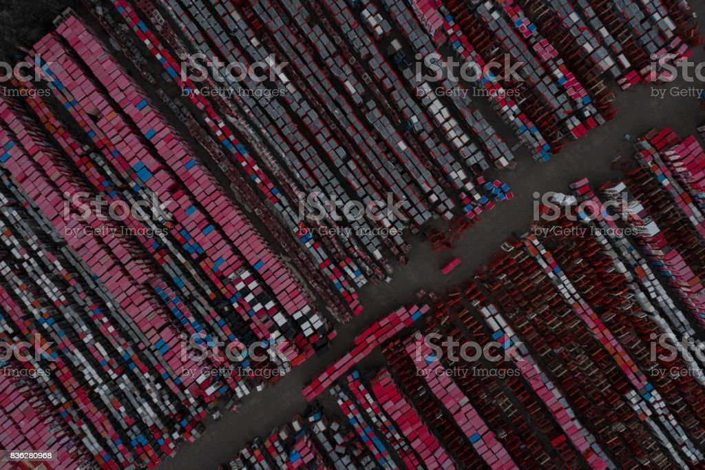 Warehouses for refrigeration plants, containers. stock photo