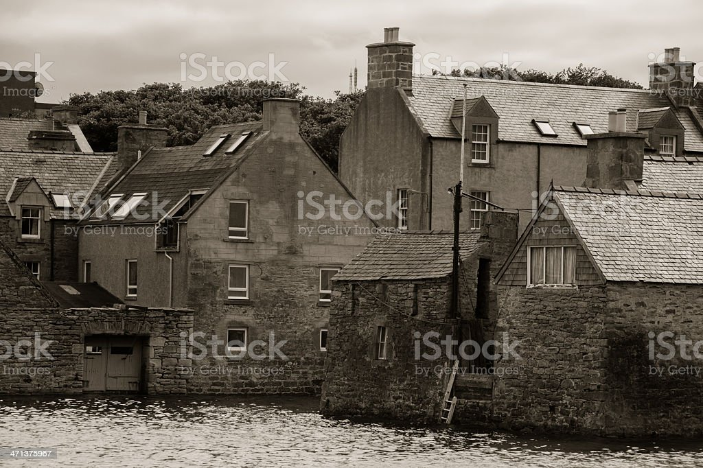 Warehouses in Lerwick Harbour Sheltand Islands royalty-free stock photo