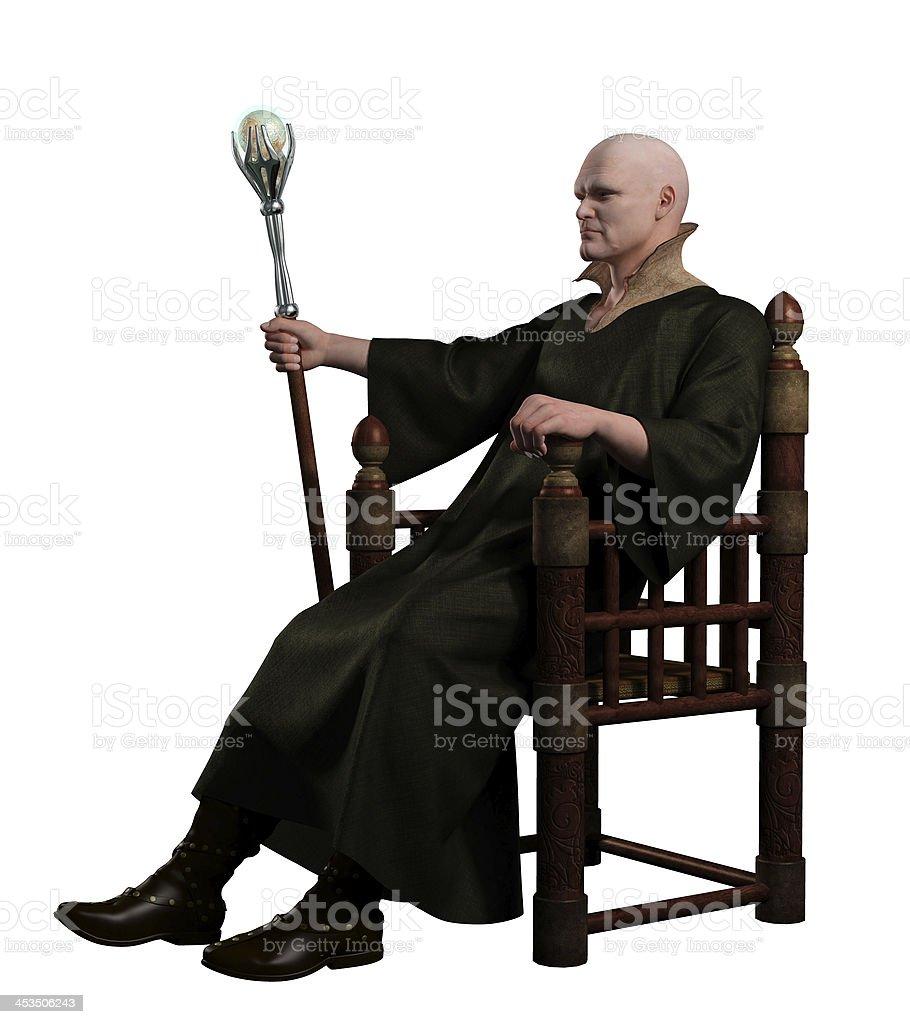 Warlock Sitting on his Throne stock photo