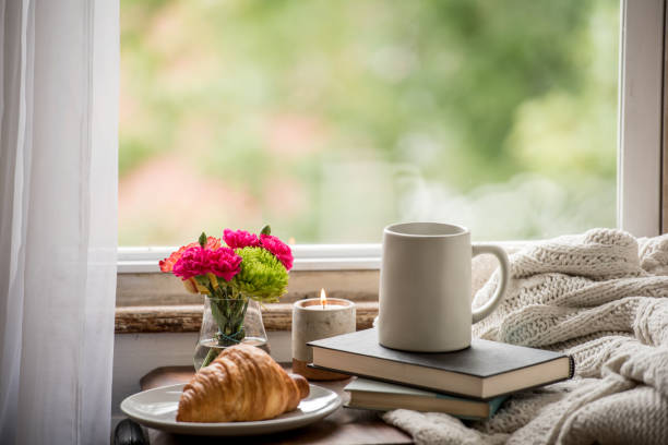 Warm and cozy at home reading a book and drinking coffee stock photo
