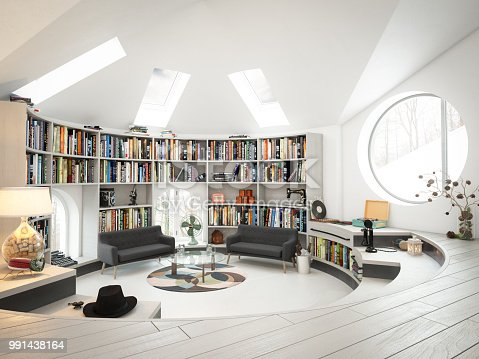 Digitally generated warm and cozy loft interior scene.  The scene was rendered with photorealistic shaders and lighting in Autodesk® 3ds Max 2016 with V-Ray 3.6.  *Note: The design(s)/writing(s) on the books that are placed in the bookshelf, are pure fictional and does not resemble any book cover(s)/magazine(s). The purpose of those fictional design(s)/writing(s) on the book(s) is to give a sense of realism.
