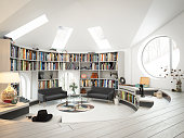 Digitally generated warm and cozy loft interior scene.\n\nThe scene was rendered with photorealistic shaders and lighting in Autodesk® 3ds Max 2016 with V-Ray 3.6.\n\n*Note: The design(s)/writing(s) on the books that are placed in the bookshelf, are pure fictional and does not resemble any book cover(s)/magazine(s). The purpose of those fictional design(s)/writing(s) on the book(s) is to give a sense of realism.