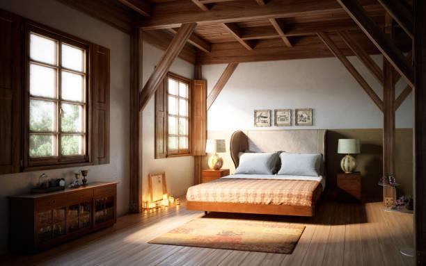 warme und gemütliche schlafzimmer-innenarchitektur - cottage schlafzimmer stock-fotos und bilder