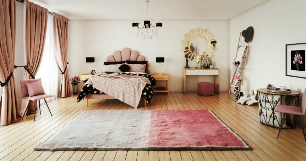 Warm and Cozy Bedroom stock photo