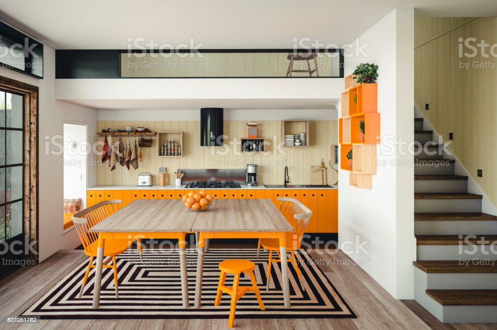 Warm and Cozy Domestic Kitchen stock photo