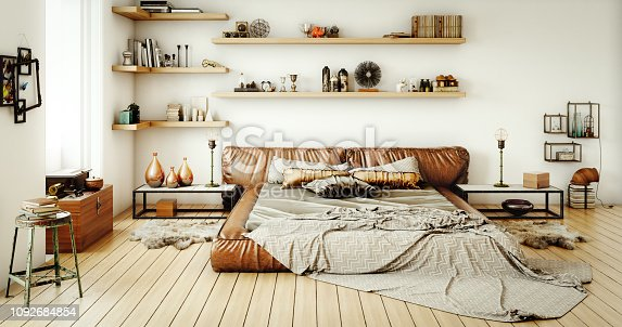Digitally generated warm and cozy home interior (loft apartment) design.  The scene was rendered with photorealistic shaders and lighting in Autodesk® 3ds Max 2016 with V-Ray 3.6 with some post-production added.