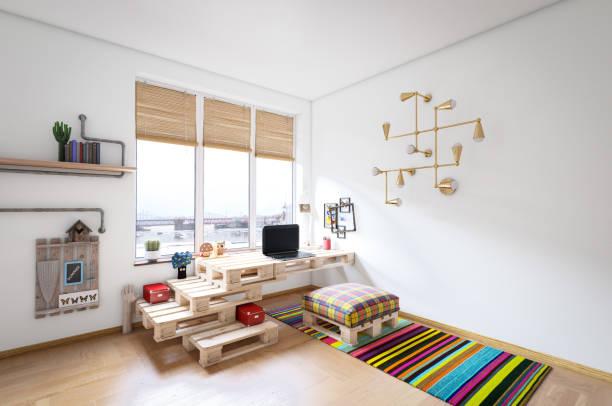warm und gemütlich zuhause büroeinrichtung - arbeitszimmer möbel stock-fotos und bilder