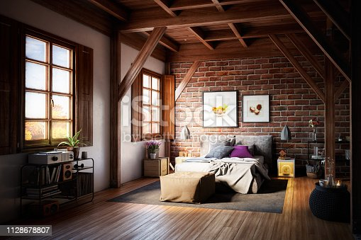 Digitally generated fashionable warm and cozy interior with a double bed and high quality home decor(s)/prop(s).  The scene was rendered with photorealistic shaders and lighting in Autodesk® 3ds Max 2016 with V-Ray 3.6 with some post-production added.