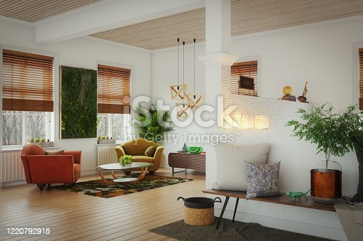 Digitally generated warm and cozy home interior design.  The scene was rendered with photorealistic shaders and lighting in Autodesk® 3ds Max 2020 with V-Ray Next with some post-production added.