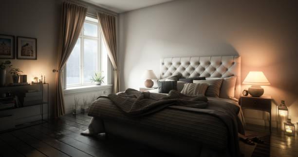 Warm and Cozy Master Bedroom stock photo