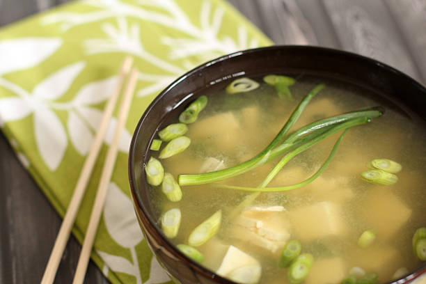 Warm and healthy miso soup stock photo