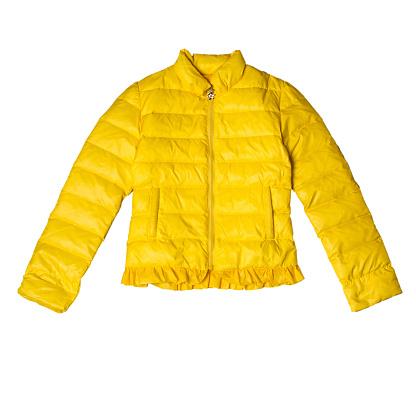 Warm autumn jacket for girls in yellow. Horizontal orientation
