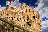 Rome, Italy, November 17 -- A warm autumnal light illuminates the iconic Castel Sant'Angelo. Built around 123 AD as a sepulcher for Emperor Hadrian and his family, the current Castel Sant'Angelo was used as a fortress, prison and refuge by the Popes due his proximity with the Vatican. It is currently owned by the Italian state and is used for visits and cultural events. Image in High Definition format.