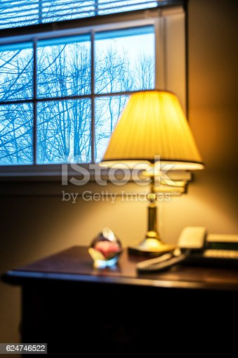 Glowing, soft light, incandescent lamp light on a bedside night table inside a warm bedroom - contrasted with cold winter bare tree branches looking out through the window. Selective focus outside the window.