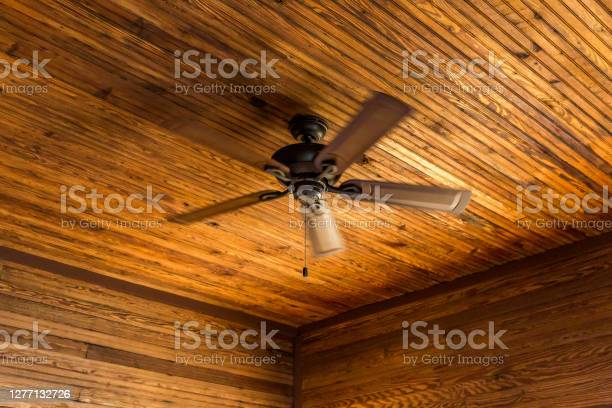 Retro Old Brown Fan On Wooden Ceiling Detail Stock Photo Download Image Now Istock