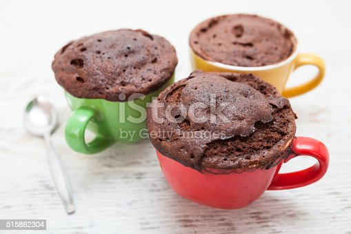Warm chocolate cake in a mug