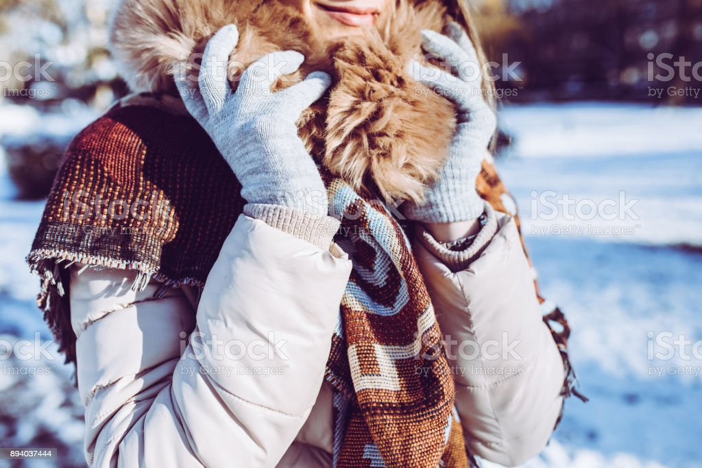 Warm clothes for winter stock photo