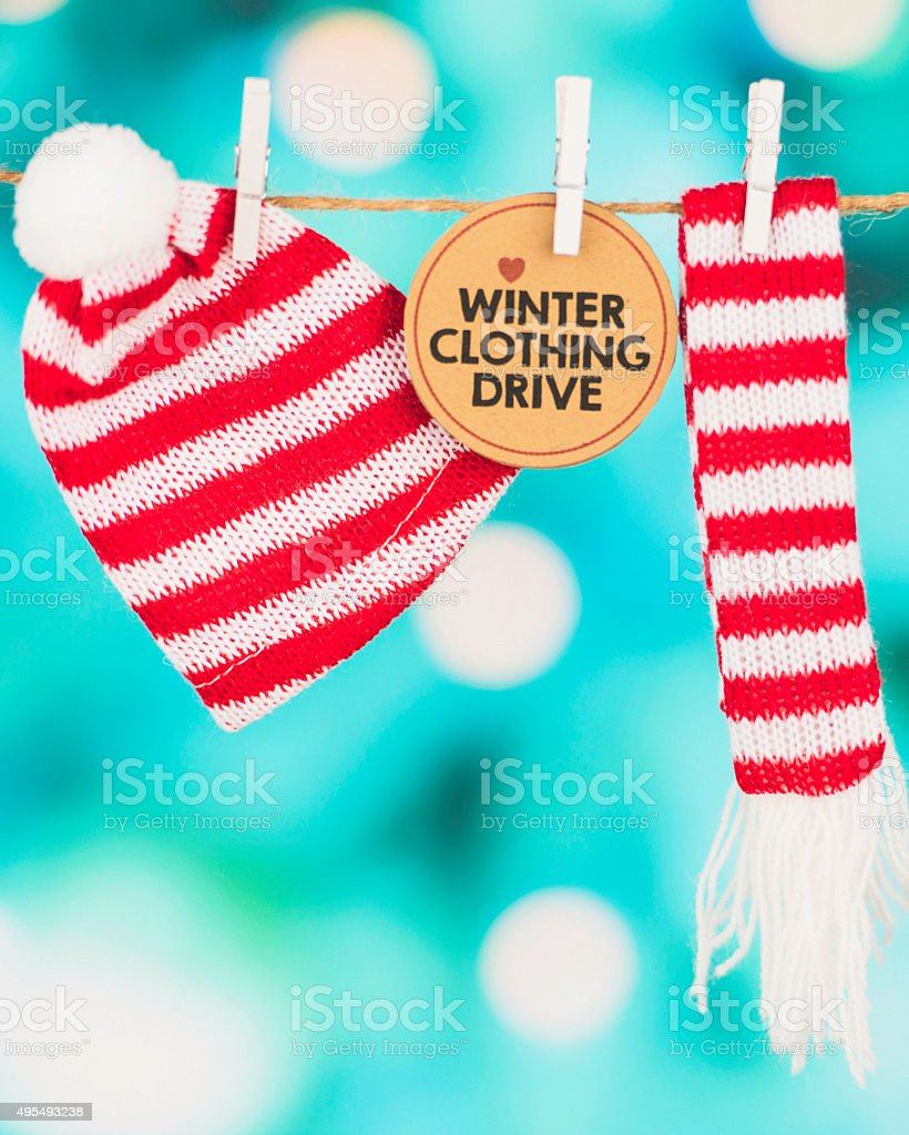 Warm clothing drive for those less fortunate during wintertime stock photo