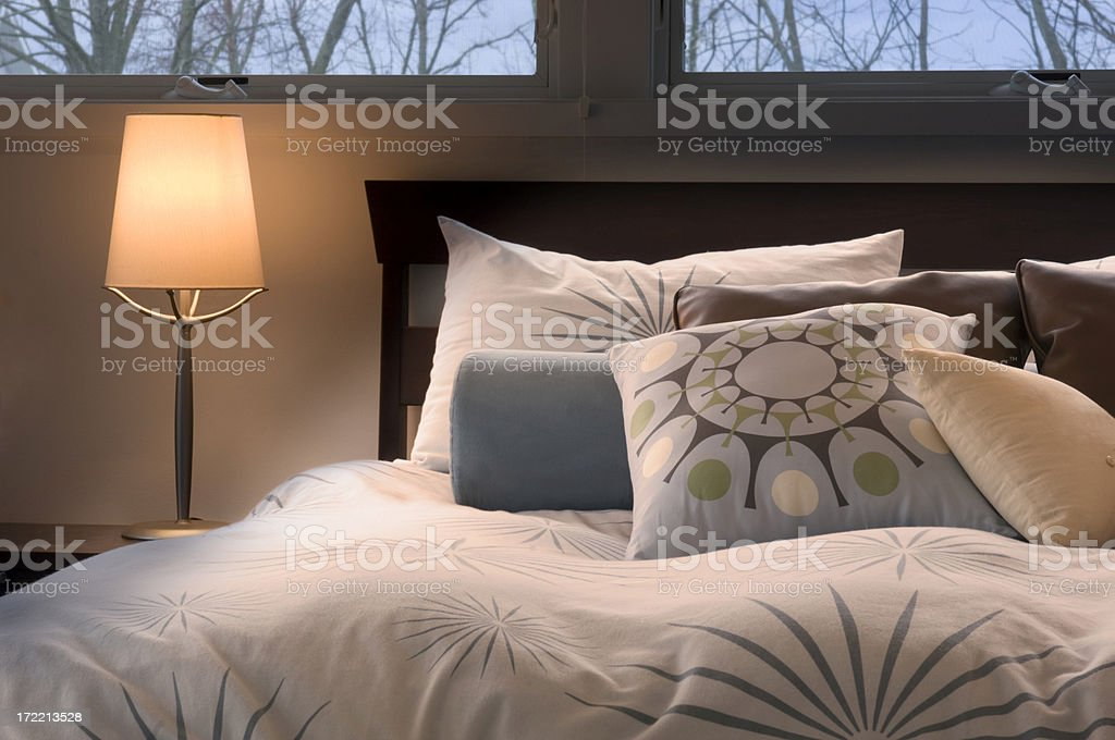 Warm, Contemporary Bedroom stock photo