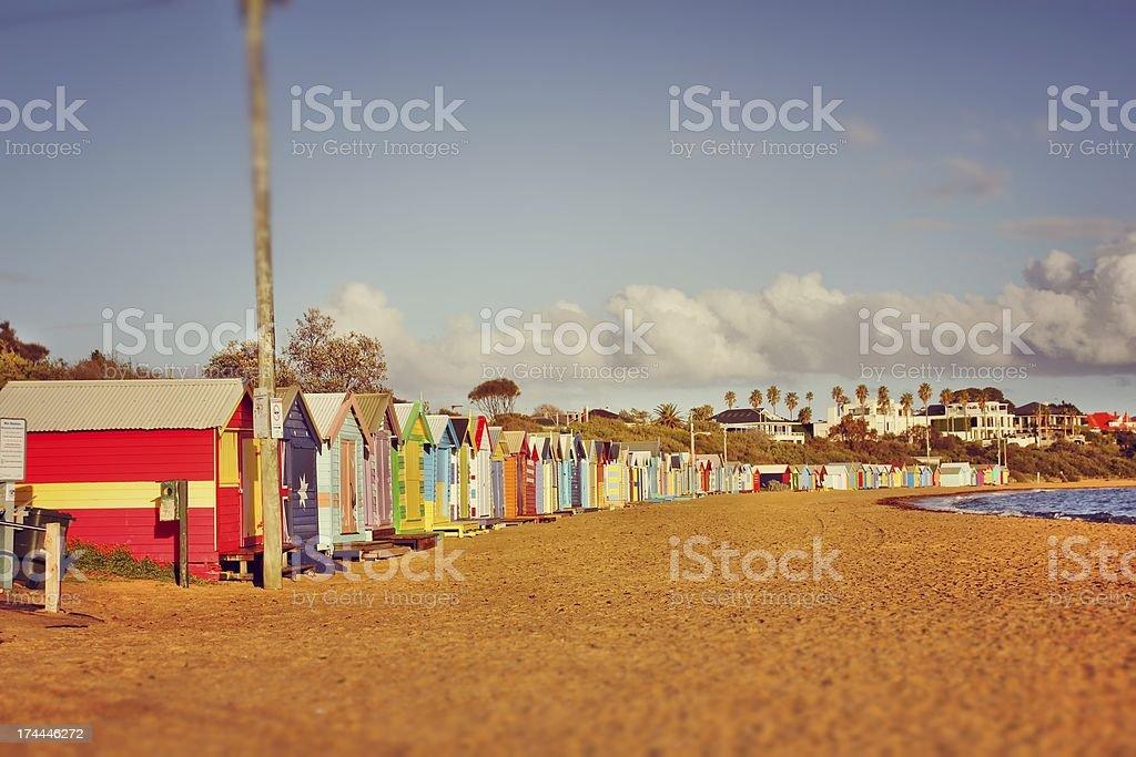 Warm dawn at the beach stock photo