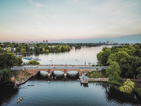 Warm evening above Alster in Hamburg Germany