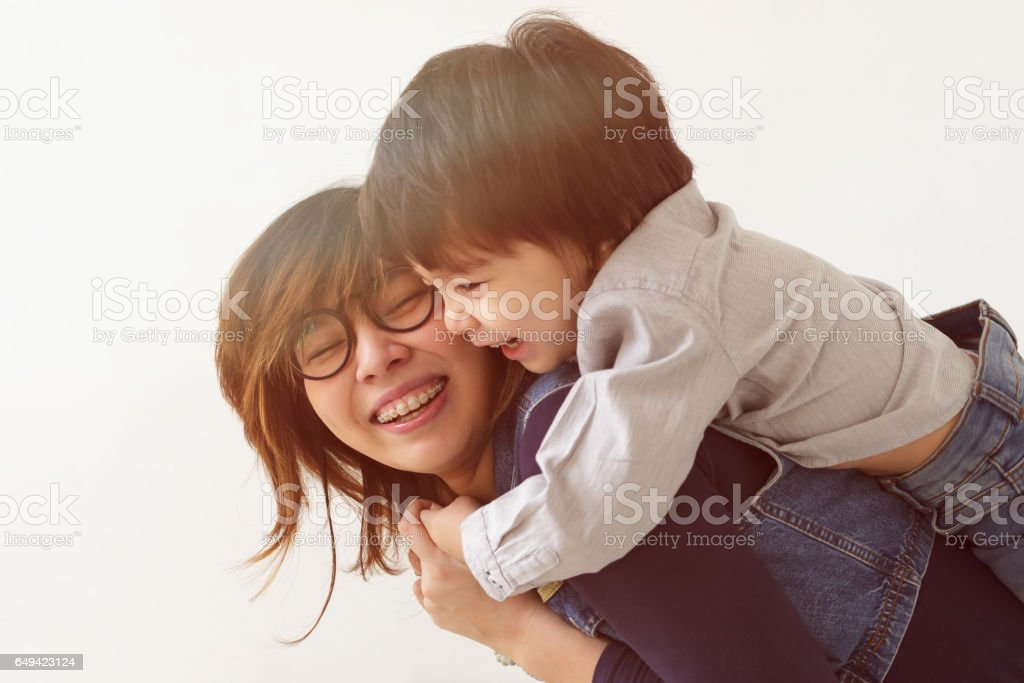 Warm family relations. stock photo