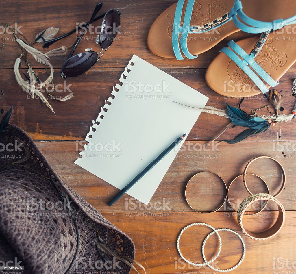 Warm filtered boho travel mock up stock photo