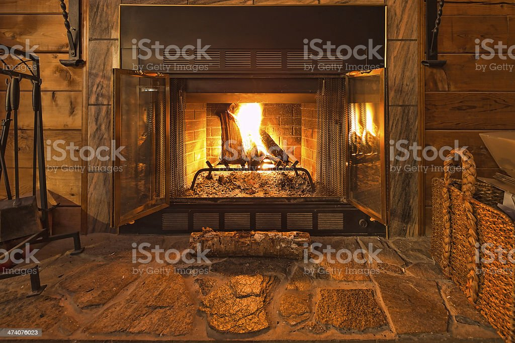 Warm Fireplace stock photo