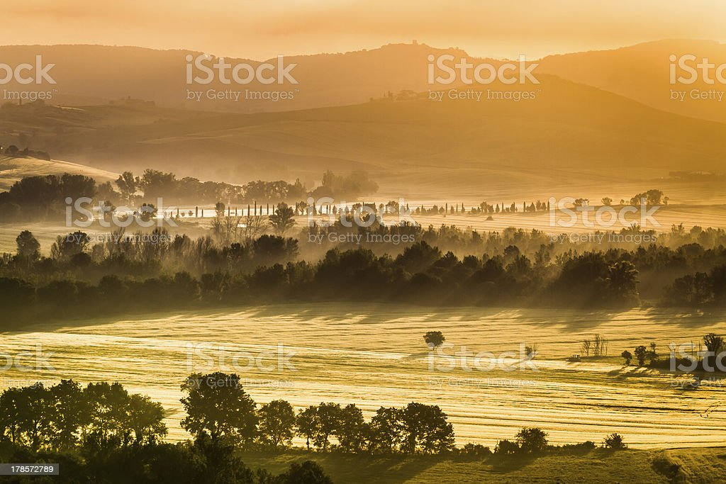 Warm foggy morning in the valley, Tuscany royalty-free stock photo