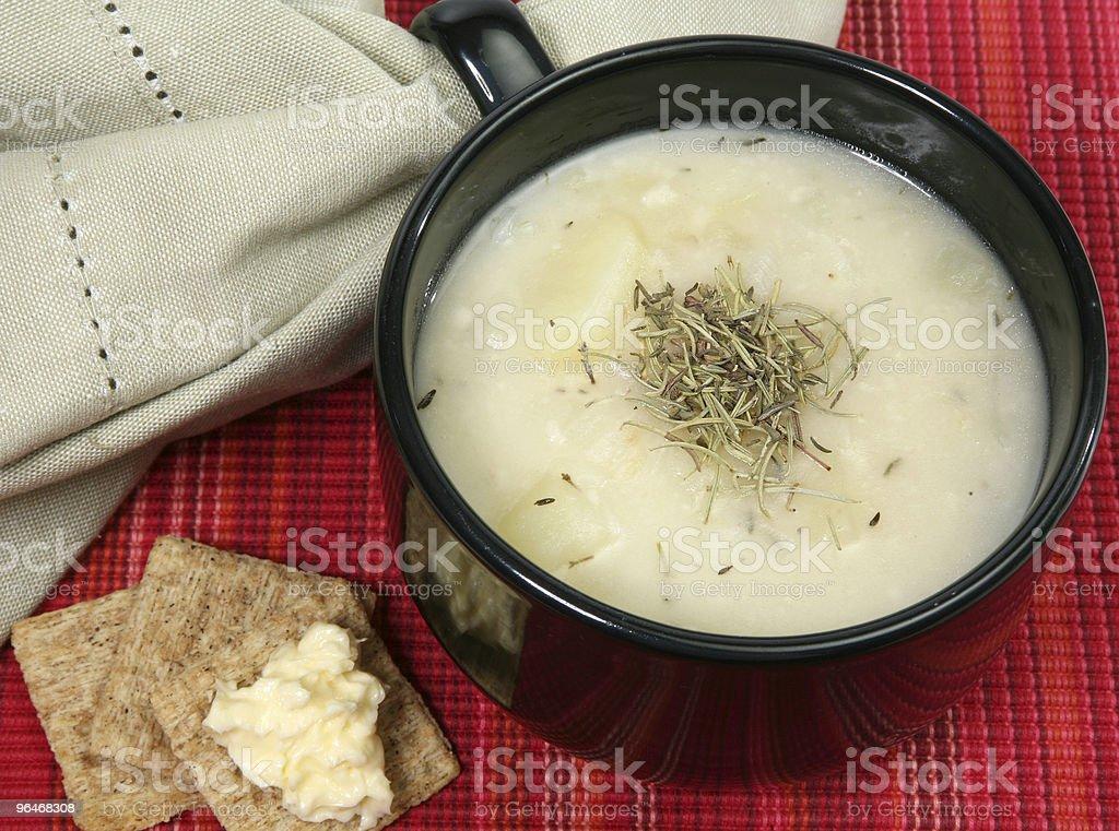 Warm Herb Potato Soup royalty-free stock photo