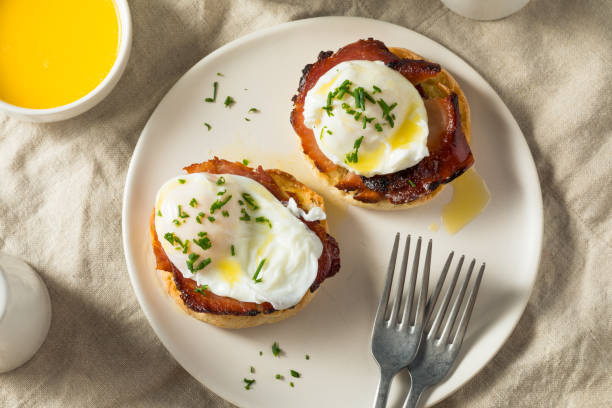 Warm Homemade Eggs Benedict stock photo