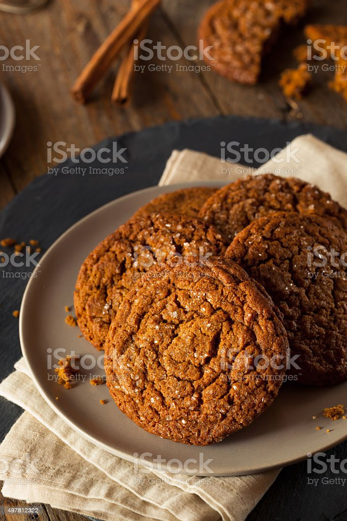 Warm Homemade Gingersnap Cookies stock photo