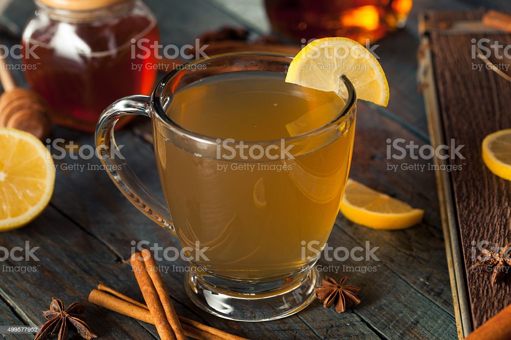 Warm Hot Toddy with Lemon stock photo