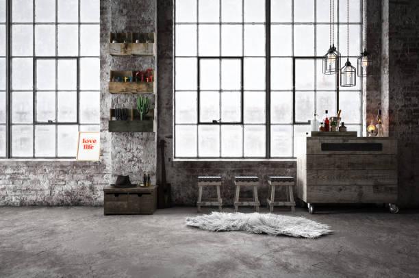 Salle intérieure chaude industriel & Cozy - Photo