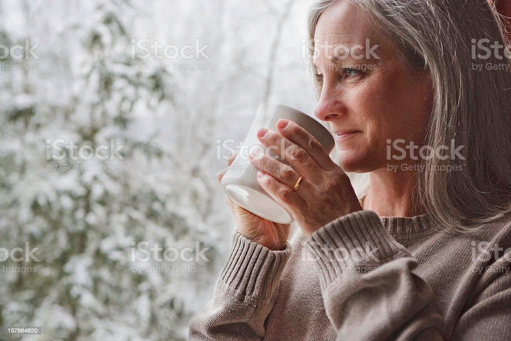 Warm inside on a snowy day royalty-free stock photo