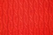 Warm knitted woolen background, red texture