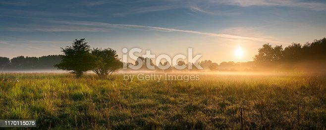 august 2019, Vlaardingen, The Netherlands warm summer sunrise over a grassy landscape