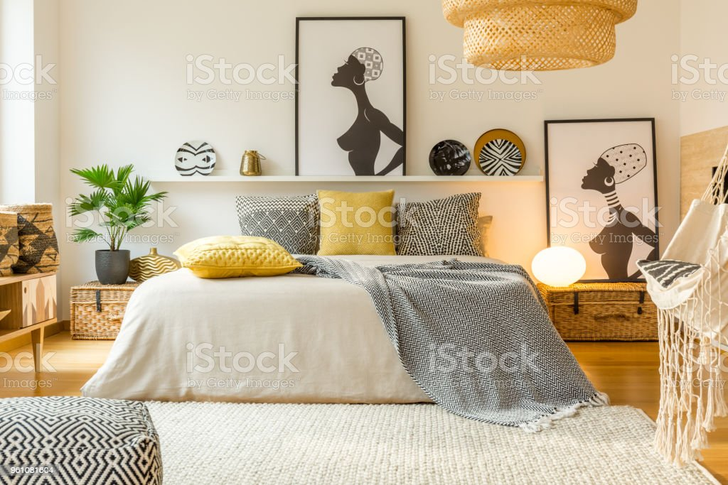 Warm modern bedroom interior stock photo